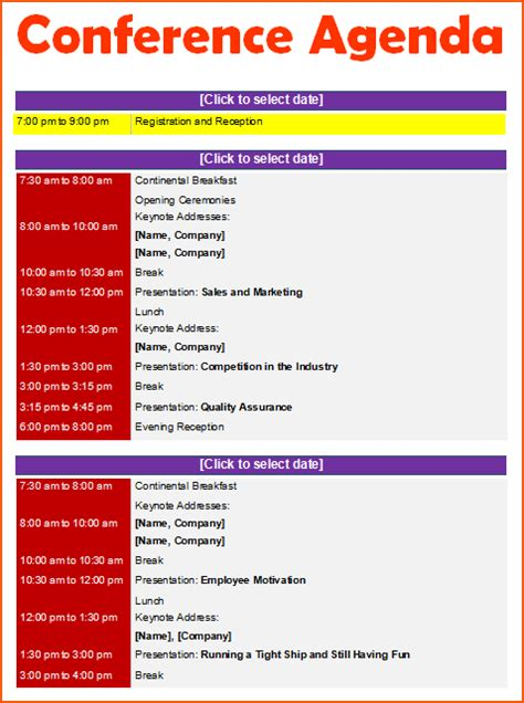 conference agenda template bookletemplateorg