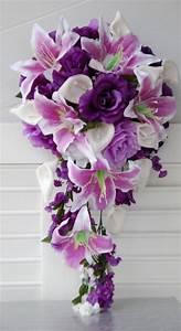 2pc Wedding Flowers Cascade Bridal Bouquet Boutonniere ...