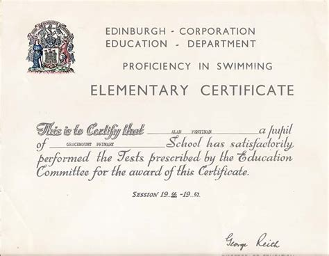 bureau of educator certification edinburgh corporation education department swimming