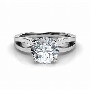 split shank round cut diamond engagement ring With wedding ring round