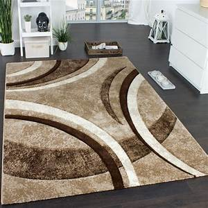 designer carpet with contour cut striped pattern brown With tapis marron beige