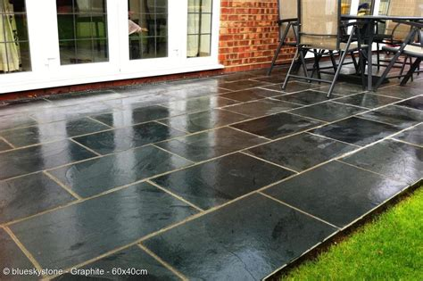 black and grey slate paving patio garden tiles not slab