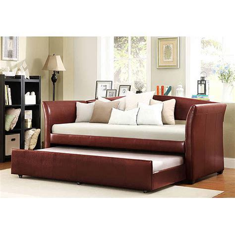 faux leather daybed with roll out trundle wine red