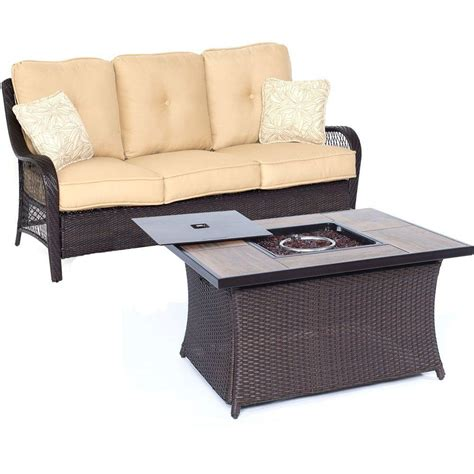 wicker patio pit set hanover orleans 2 all weather wicker patio pit