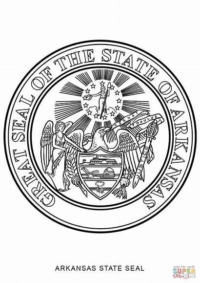 Seal State Coloring Arkansas Pages Symbols Dakota