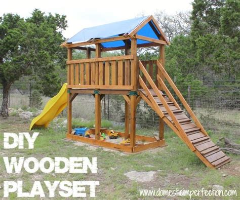 diy playset  staining  flood wood building