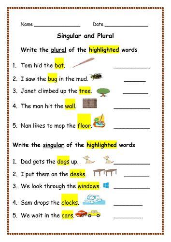 worksheets on singular and plural nouns for kindergarten