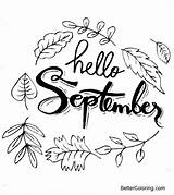 September Coloring Pages Hello Printable Adults sketch template