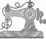 Sewing Machine Coloring Naaimachine Drawing Mandala Zentangle Flowers Drawings Adults Decorative Szycia Ornaments Dessin Coloriage Coser Uitstekende Shutterstock Colorare Machines sketch template