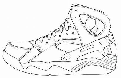 Template Jordan Coloring Shoes Pages Shoe Michael