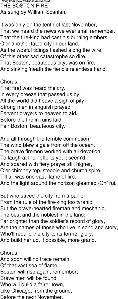 boston prayer time table old time song lyrics for 02 the boston fire