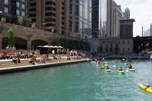 Chicago River Boat Parking by New Sections Of Chicago Riverwalk Open