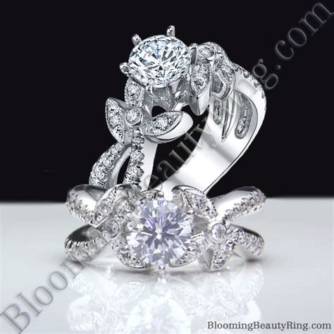 lotus leafy split shank diamond flower engagement ring bbr548 unique engagement rings for