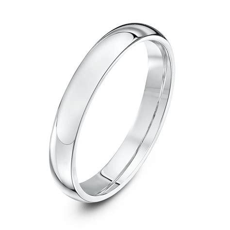 silver heavy court shape 3mm wedding ring