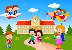 niños en edad escolar feliz de dibujos animados — Archivo ...