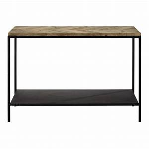 Recycled wood and metal console table in black W 119cm