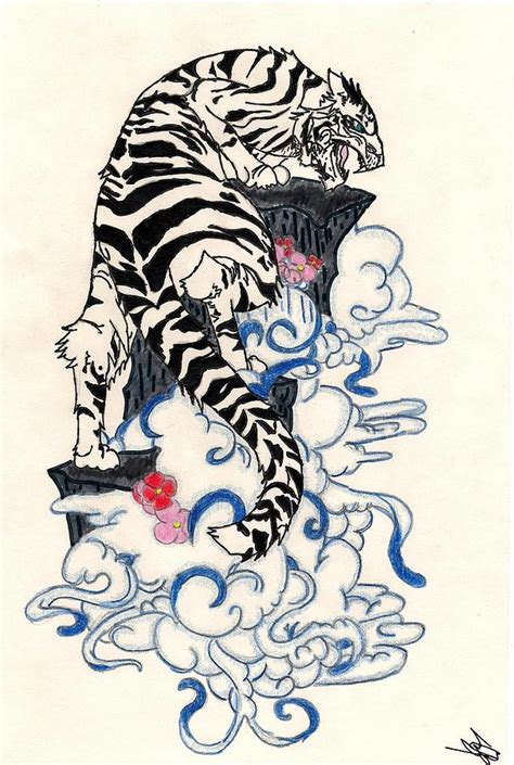 sell paintings traditional japanese style tiger drawing by crisol cos