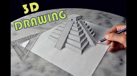 3d Zeichnen by Drawing Chichen Itza Mexico 3d Trick