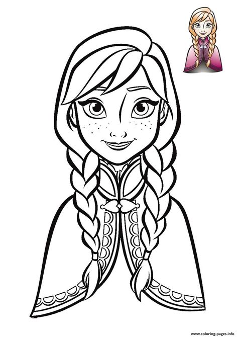 anna frozen face  coloring pages printable
