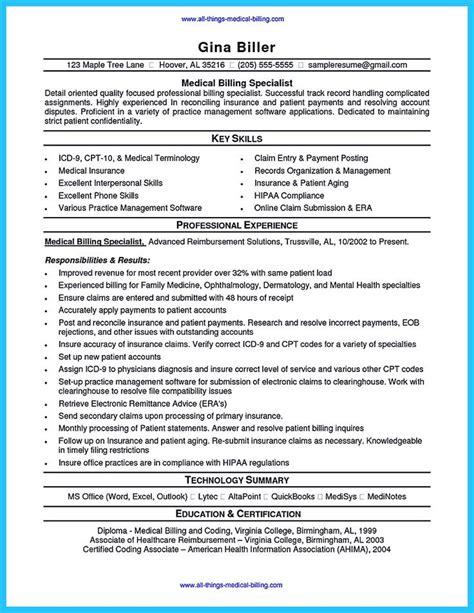 sle resume of a biller and coder
