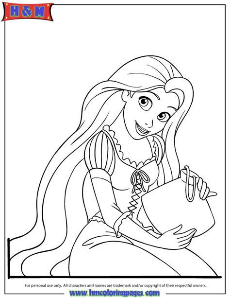 Coloring Rapunzel by Pretty Rapunzel Coloring Page H M Coloring Pages