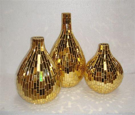 Big Gold Vase by Mosaic Glass Gold Mirror Crafts Set Vase Set Yx10 Jm022
