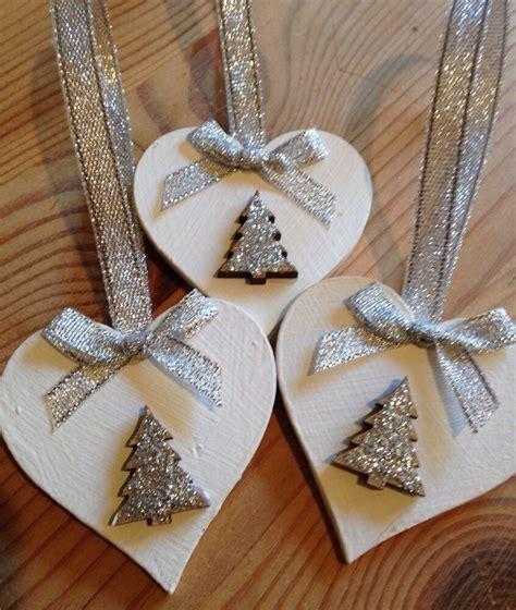 handmade christmas decorations shabby chic wood heart