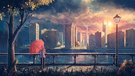 artwork fantasy art anime rain city park umbrella
