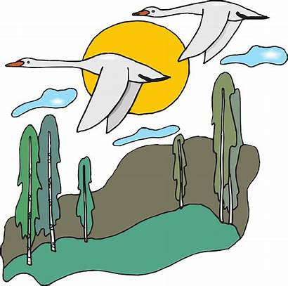 Nature Clip Clipart Flying Scene Geese Goose