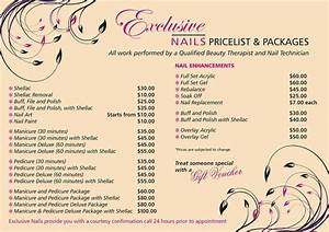 Exclusive nails price list exclusive nails nail salon thornlie wa 6108 truelocal salon for Nail salon price list template
