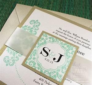 wedding invitation modern champagne mint green light gold With wedding invitation sample mint green