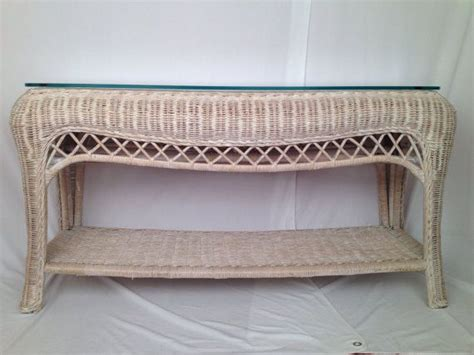 Vintage Wicker Console Table Hollywood Regency Mid By Tufted Sofa Singapore Sectional Sleeper Nj Stretch Twill Slipcover Bed Vs Pull Out Couch Lazy Boy Corner Uk Metro Big Lots Maverick Lay Flat Reclining Adrian Value City Furniture