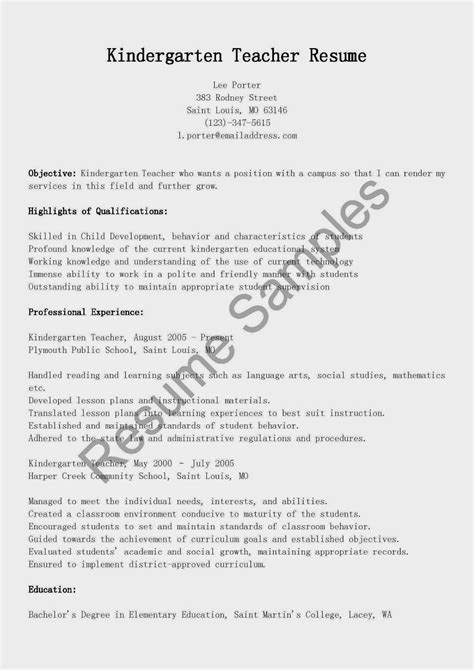Sle Resume For Teachers by Resume Sles Kindergarten Resume Sle