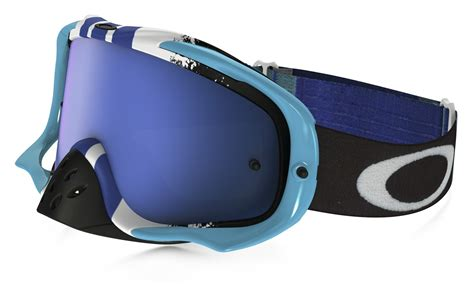 tinted goggles motocross oakley new crowbar mx pinned dirt bike blue white ice