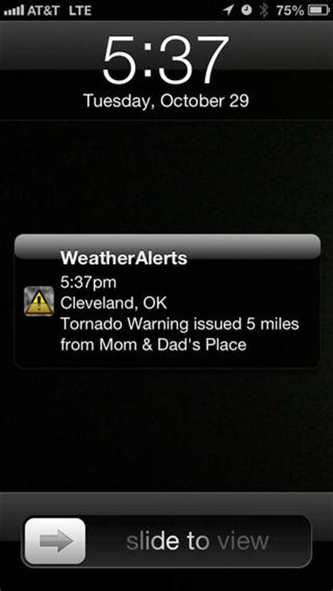 warning on iphone noaa weather alerts severe weather push notifications
