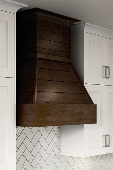 shiplap wood hood kitchen craft cabinetry