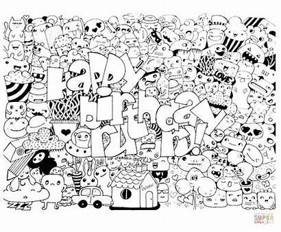 Doodle Birthday Happy Coloring Ausmalbilder Gambar Drawing