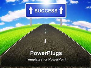 a straight street leading to success illustrated by an With success powerpoint templates free download