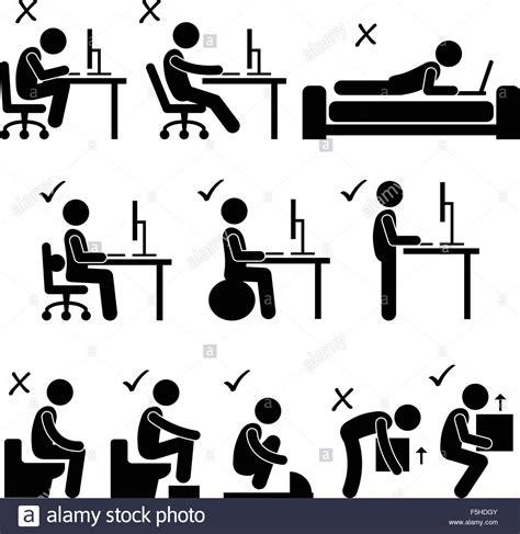 Good And Bad Human Body Posture Stick Figure Pictogram