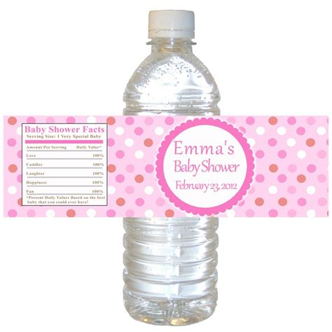 printable water bottle labels for baby shower printable pink polka dots water bottle labels wrappers