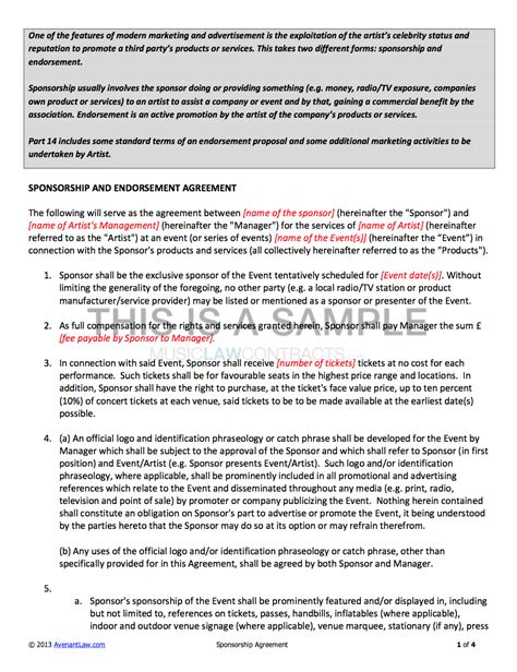sponsorship contract template  artists