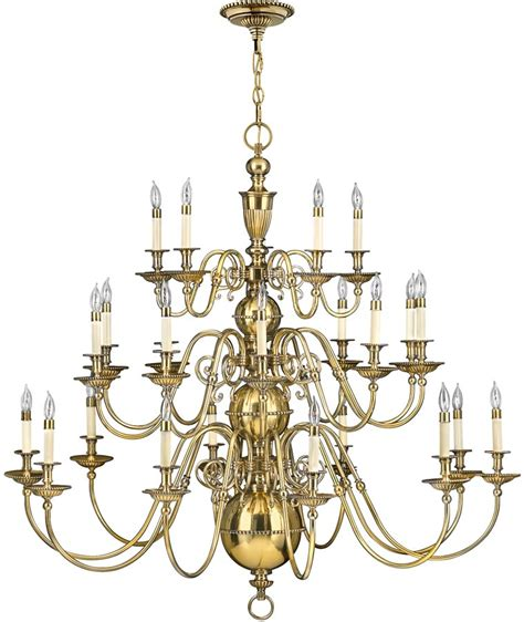 Large Brass Chandelier by Hinkley Cambridge 25 Light 3 Tier Solid Brass Large