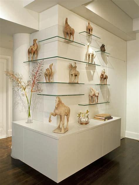 Living Room Glass Corner Shelves by Modern Glass Shelves And Decoration Decor