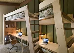 Hochbett Mit Kleiderschrank Unter Dem Bett : ideen mit bett und schreibtisch als platzsparende einrichtung ~ Sanjose-hotels-ca.com Haus und Dekorationen