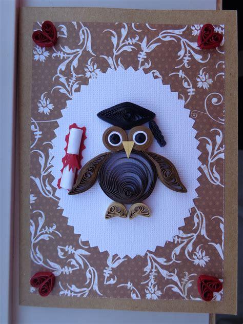 quilled owl graduation card  karen miniaci quilling