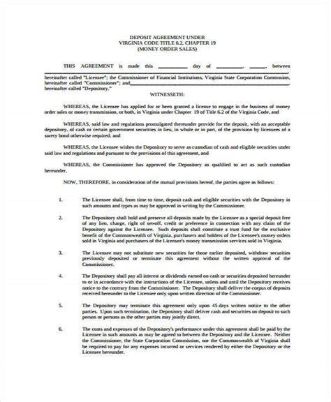 deposit agreement templates  word