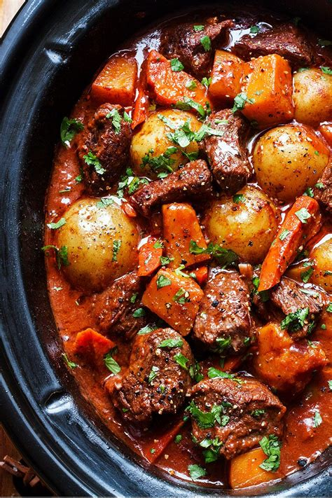slow cooker beef stew recipe with butternut carrot and potatoes eatwell101