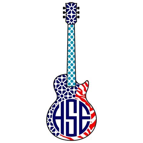 guitar monogram svg cuttable frames