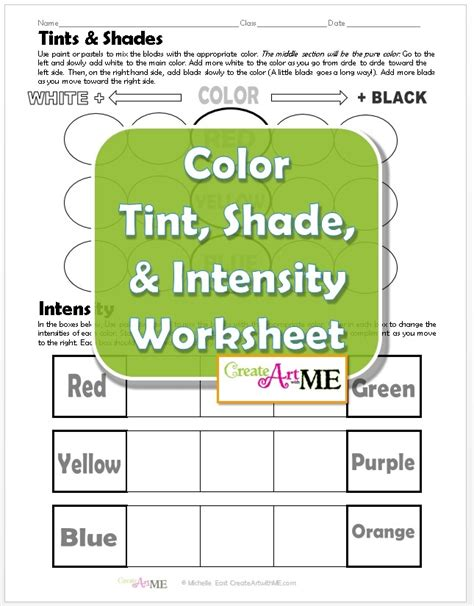 color tint shade intensity worksheet create with me