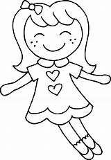 Coloring Dolly Clip Doll Clipart Sweetclipart sketch template